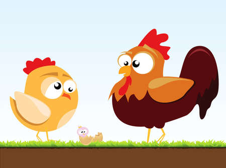 bird flu: a chicken and a rooster Illustration