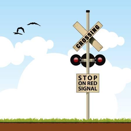 railroad crossing  イラスト・ベクター素材