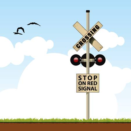 railroad crossing Stock Illustratie