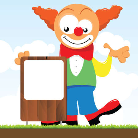 trickster: a clown holding a signboard