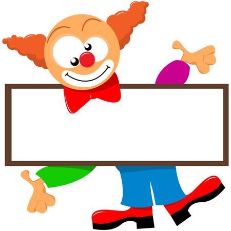 jester: a clown holding a signboard