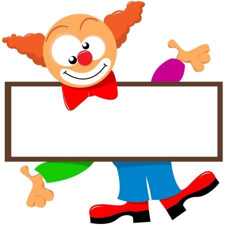 żartować: clown trzyma szyld Ilustracja
