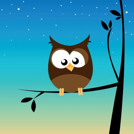 night bird: own on a branch Illustration
