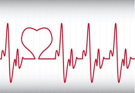 cardioid: coraz�n en un electrocardiograma Vectores
