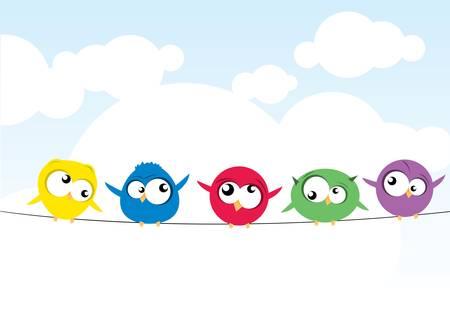zwerm vogels: vogels op draad