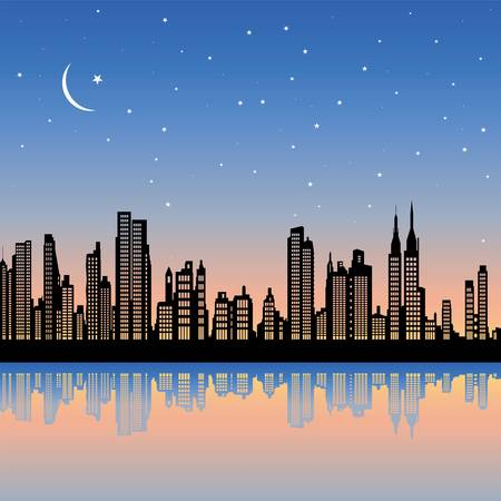 city skyline night: new york