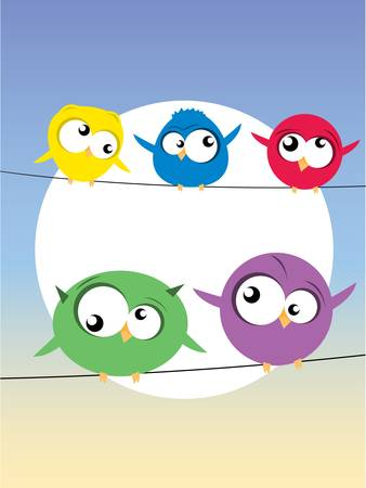 comedic: birds on wires Illustration