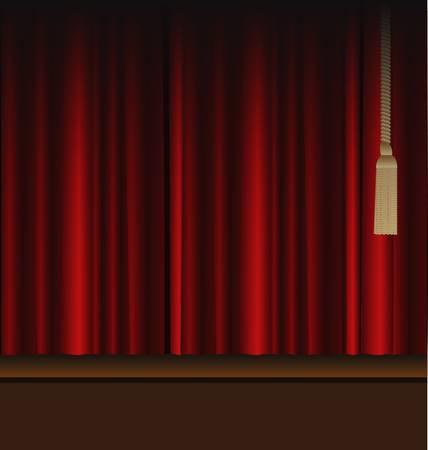 劇場ステージに赤いカーテン