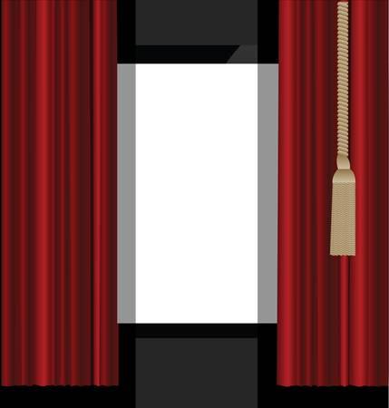 劇場ステージに赤いカーテン 写真素材 - 19275005