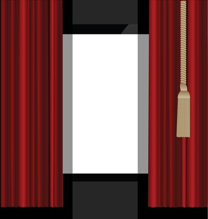 velvet rope: red curtains to the theatre stage Illustration