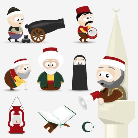 icons set ramadan  イラスト・ベクター素材