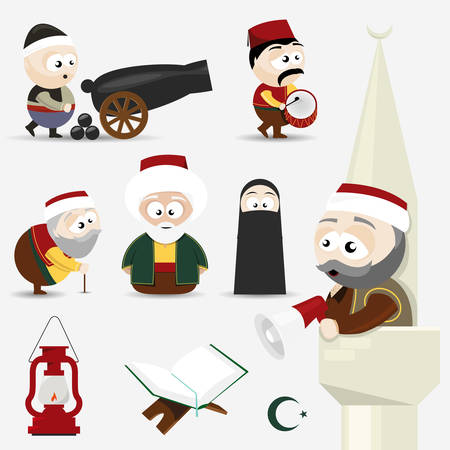 cannon: icons set ramadan Illustration