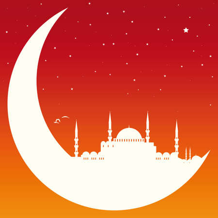 moon with mosque Illustration