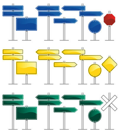 yield sign: road signs with blank frames Illustration