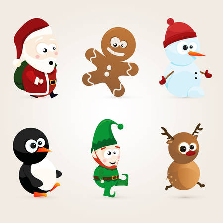 cute christmas characters Illustration