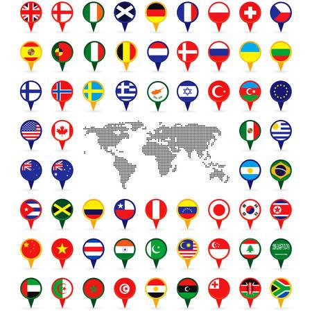 sur: banderas del mundo en los pins del mapa