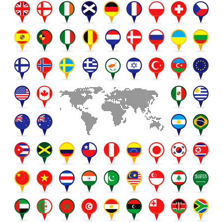 world flags on map pins Vector