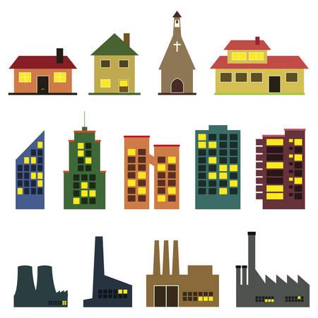 architecture pictogram: buildings