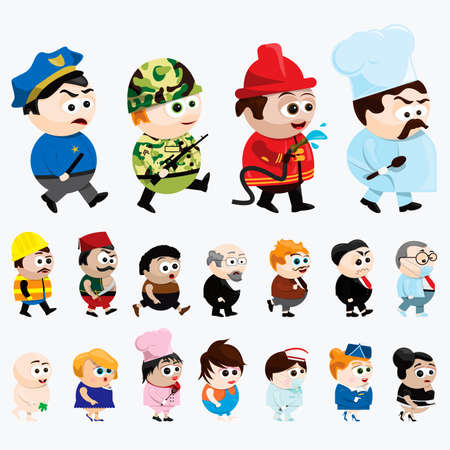 cartoon characters of various professions