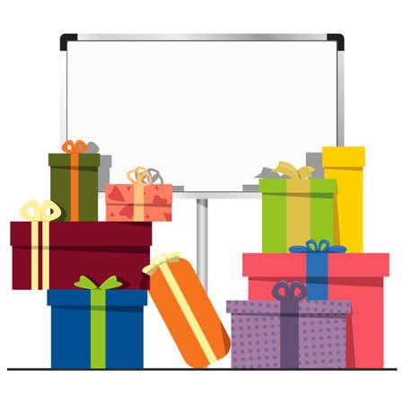 coffrets cadeaux et d'un tableau blanc