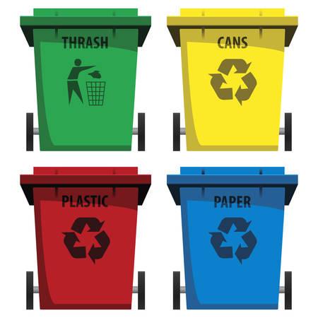 reciclaje de papel: conjunto de vectores de movimiento de piernas y papeleras de reciclaje