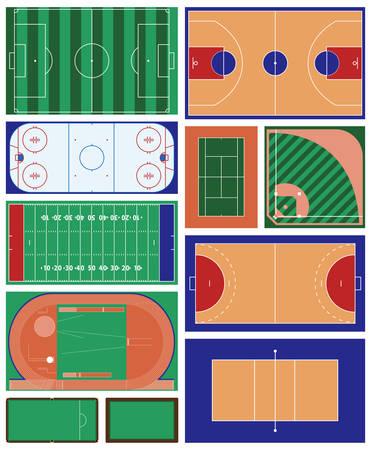 campo de beisbol: vector conjunto de zonas deportivas de interior y al aire libre Vectores