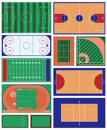 baseball stadium: vector set of indoor and outdoor sport areas Illustration