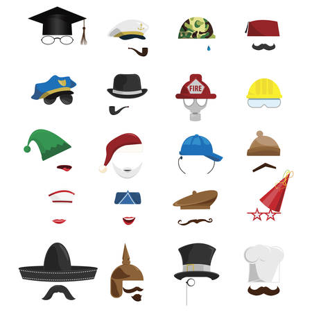 vector set of various invisible men with hats Çizim
