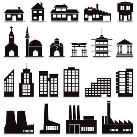 ensemble de vecteurs de divers bâtiments