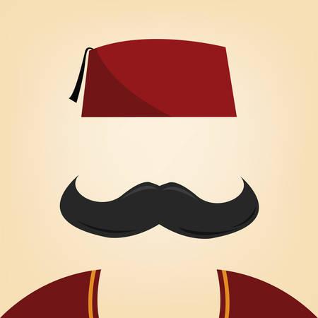 vector illustratie van een man met fez Stock Illustratie
