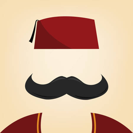 arabic: vector illustration of a man with fez