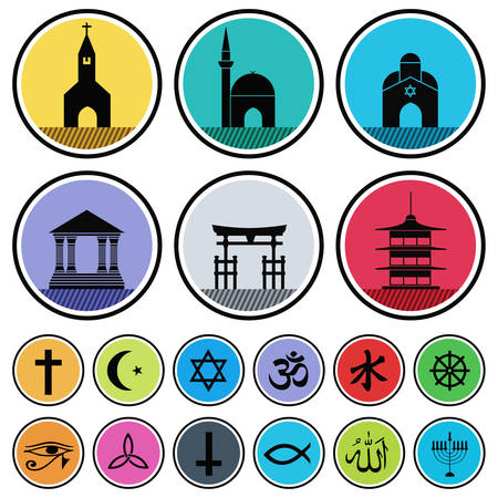 protestantism: vector set of various religious icons