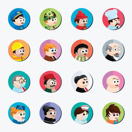 personnages de dessins animés de différentes professions Illustration