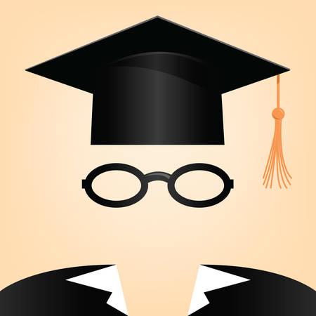 illustration d'un homme avec un chapeau de graduation