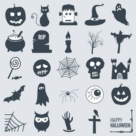 set of various halloween icons