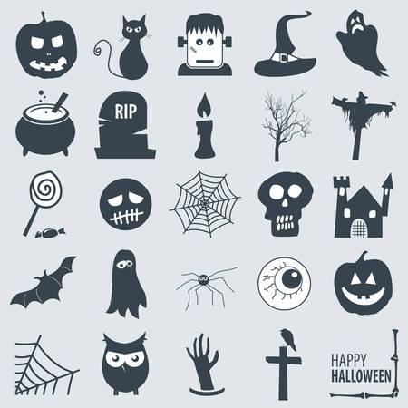 un ensemble de différentes icônes Halloween Illustration