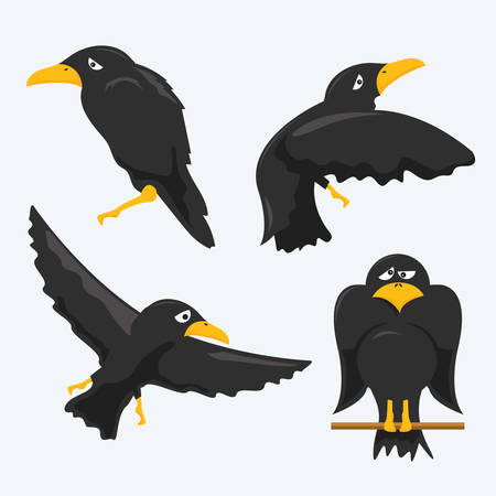 cuervo: conjunto de cuervos de dibujos animados Vectores