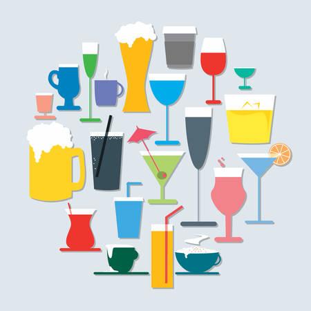 un ensemble de différentes icônes de boissons
