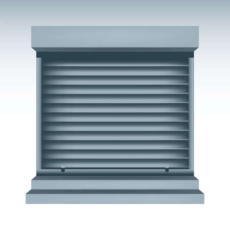 locked up: illustration of roll up shutters