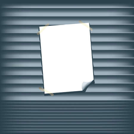 blank poster: Blank Poster on a Roll Up Shutter Illustration