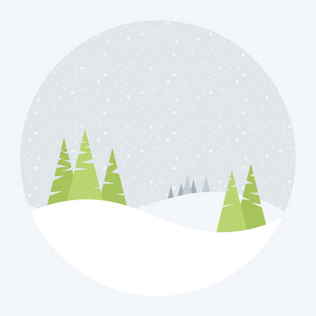 snow tree: vector illustration of a winter landscape with pine trees and snow