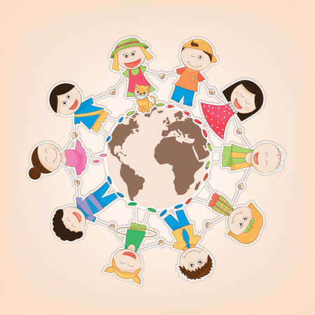 illustration vectorielle des enfants du monde entier