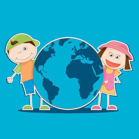 illustration vectorielle des enfants tenant le monde