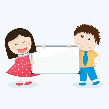 illustration vectorielle des enfants avec un panneau blanc