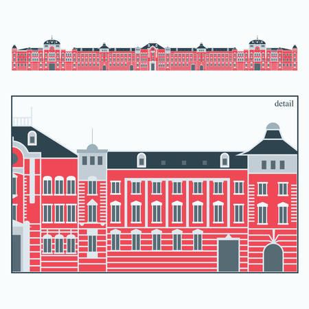東京駅のベクトル イラスト  イラスト・ベクター素材