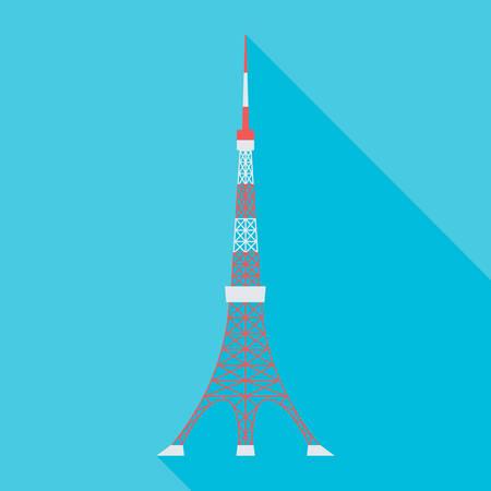 vector illustration of the Tokyo Tower Stock Illustratie