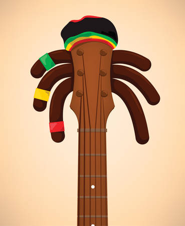 jamaican man: Rasta guitar ready to reggea with the long rasta hairs and the rastacap! Illustration