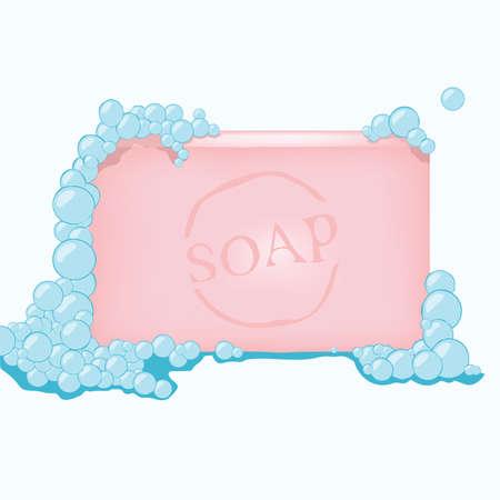 illustration vectorielle d'un savon avec des bulles