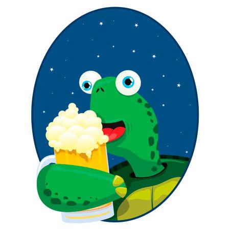 illustration vectorielle d'une tortue mignonne ayant une bière