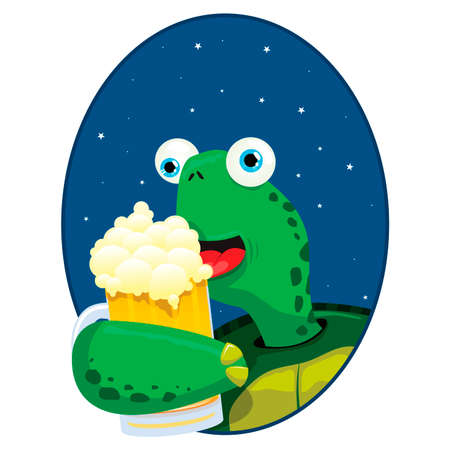 zoo cartoon: vector illustration of a cute turtle having a beer Illustration
